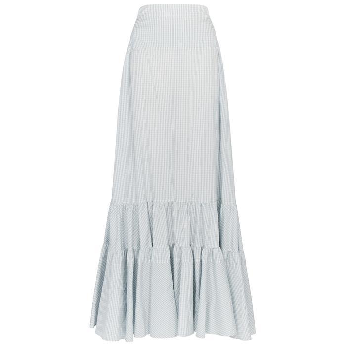 Calvin Klein 205w39nyc Checked Panelled Silk Maxi Skirt