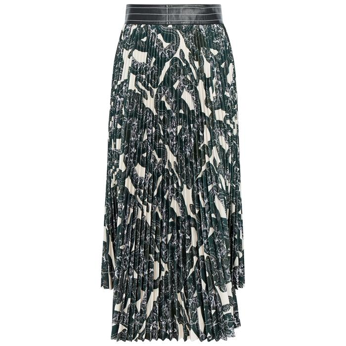 Helmut Lang Snake-print Pleated Jersey Midi Skirt In Black
