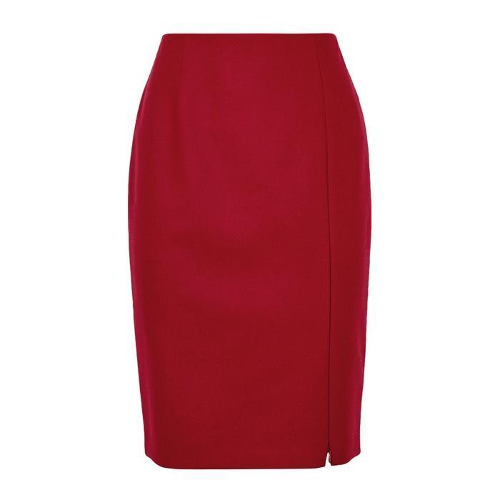 Paule Ka Red Wool Pencil Skirt