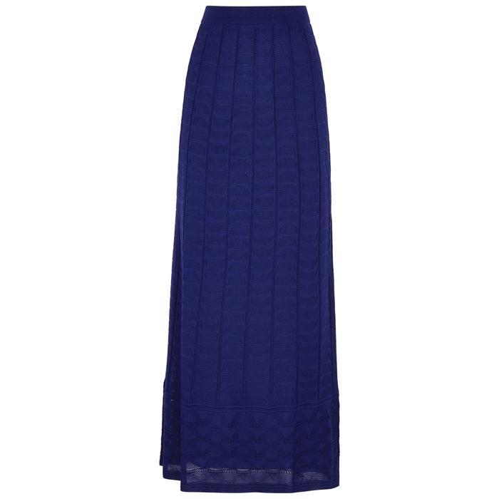 M Missoni Textured-knit Wool-blend Maxi Skirt In Blue