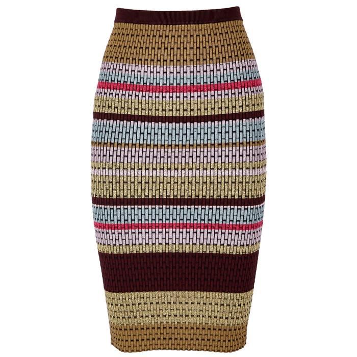 Diane Von Furstenberg Striped Textured-knit Midi Skirt In Burgundy