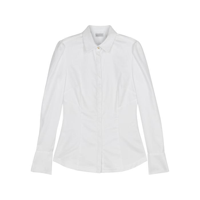 Rebecca Vallance Cassia Micro-striped Cotton Shirt In White