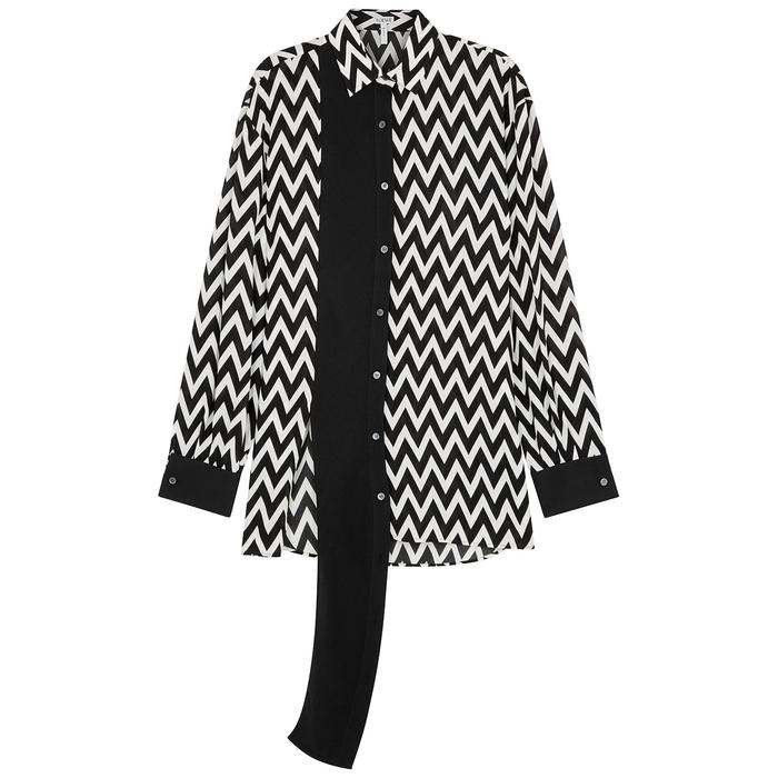 Loewe Monochrome Chevron-print Shirt In Black And White