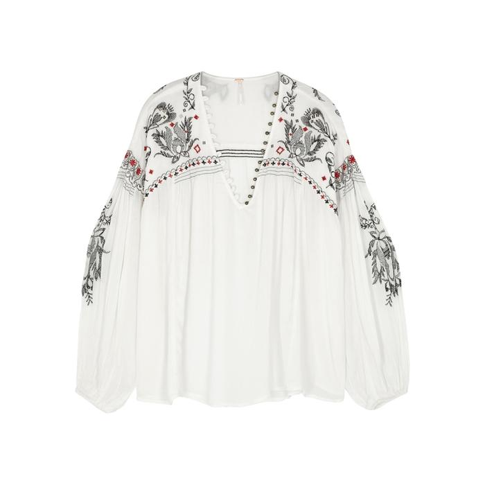 Free People Rock It Tonight Embroidered Top In Ivory