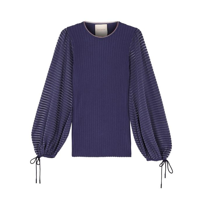 Roksanda Saida Blue Ribbed Top
