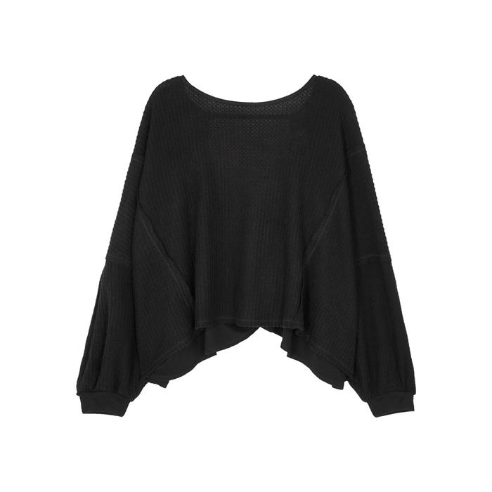Free People Love Me Open-back Thermal Top In Black