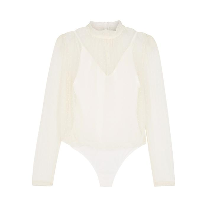 Free People Twice The Fun Point D'esprit Boydsuit In Ivory