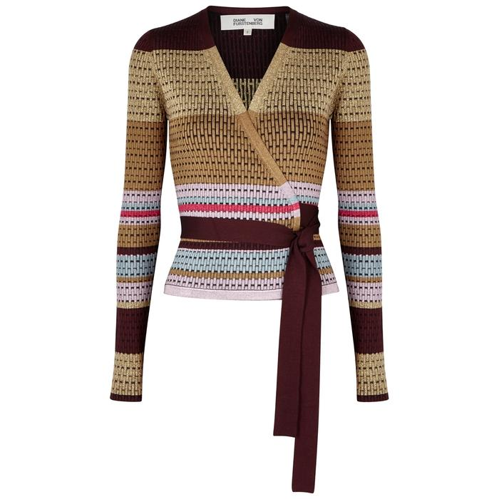 Diane Von Furstenberg Striped Textured-knit Wrap Top In Burgundy