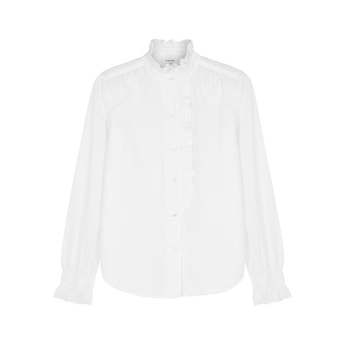 Frame White Ruffled Cotton Shirt