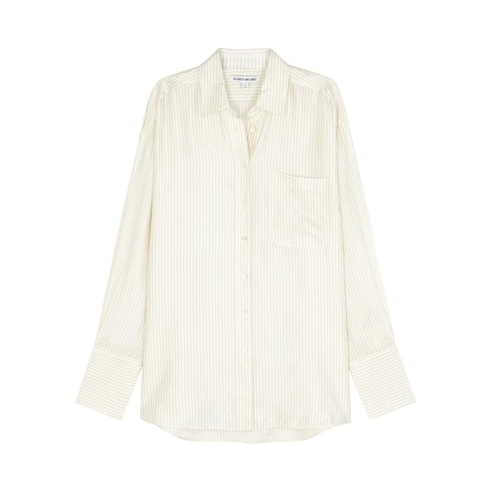 Elizabeth And James Turner Pinstriped Oversized Shirt In White