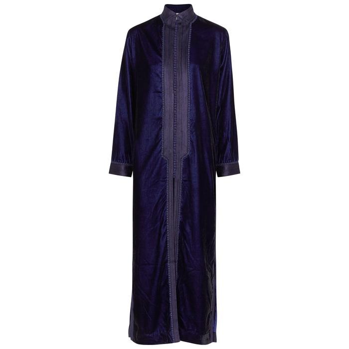 We Are Leone Marrakesh Navy Velvet Maxi Jacket In Blue