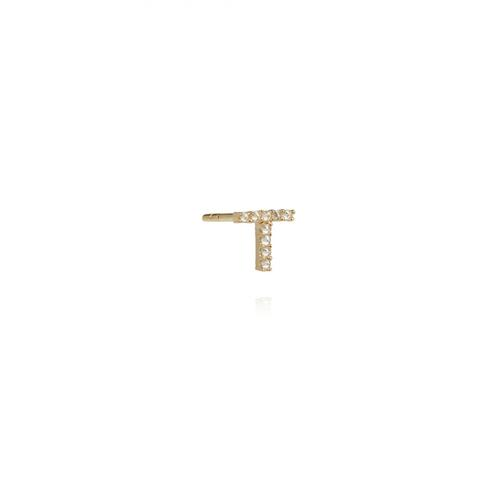 Annoushka Yellow Gold And Diamond Initial T Single Stud Earring