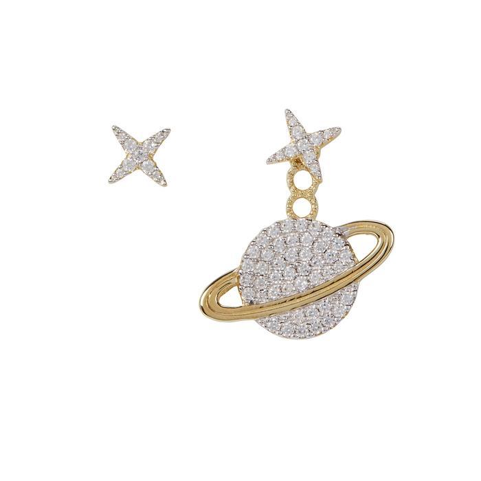 Apm Monaco Asymmetric Star Crystal-embellished Earrings In Gold