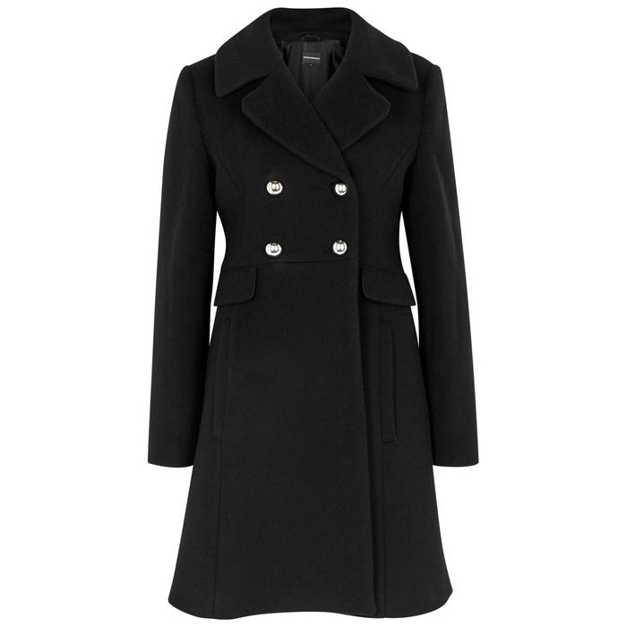 Emporio Armani Black Double-breasted Wool Coat