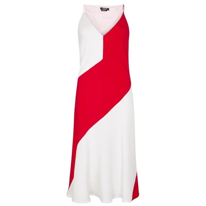 Calvin Klein 205w39nyc Red Colour-block Silk Midi Dress In White And Red