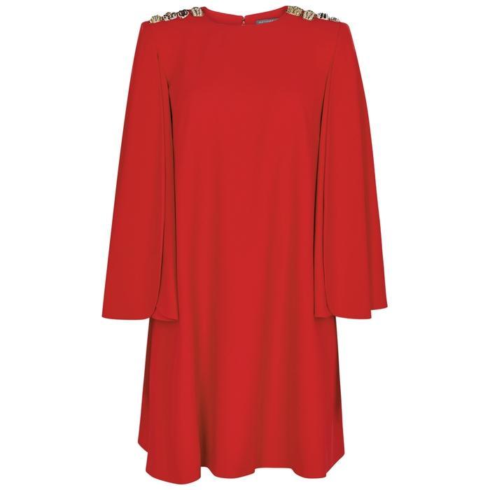 Alexander Mcqueen Red Embellished Cape Dress