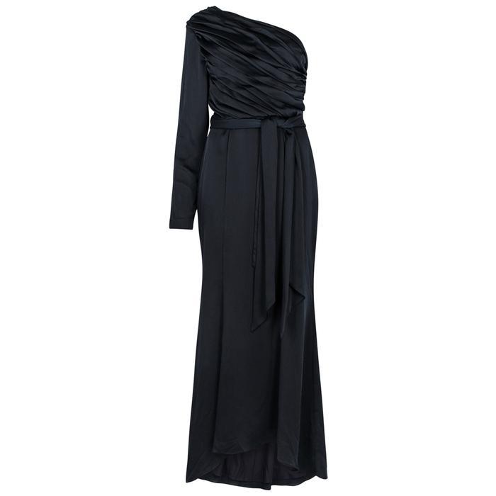 Keepsake Hold Back Navy Satin Gown