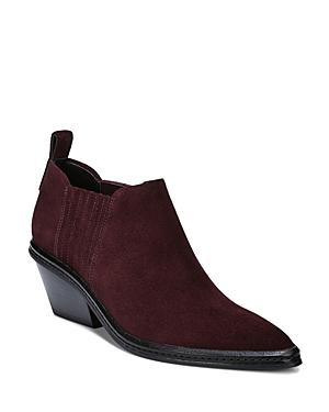 Via Spiga Women's Farly Pointed Toe Suede Mid-heel Ankle Booties In Port Suede