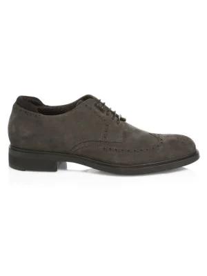 Hugo Boss First Class Suede Derby Shoes In Dark Grey
