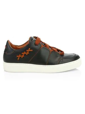 Ermenegildo Zegna Tiziano Leather Low-top Sneakers In Black Viccuna