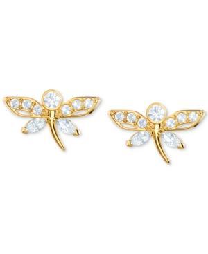 Swarovski Gold-tone Crystal Dragonfly Stud Earrings In Light Multi