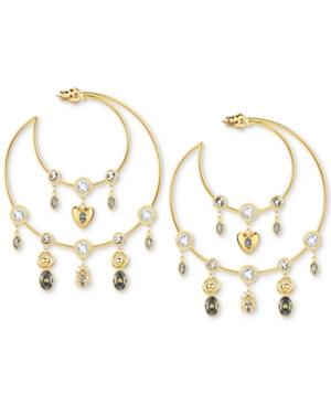 "Swarovski Gold-tone Crystal Charm Crescent Moon Extra Large 2-1/2"" Hoop Earrings In Dark Multi"
