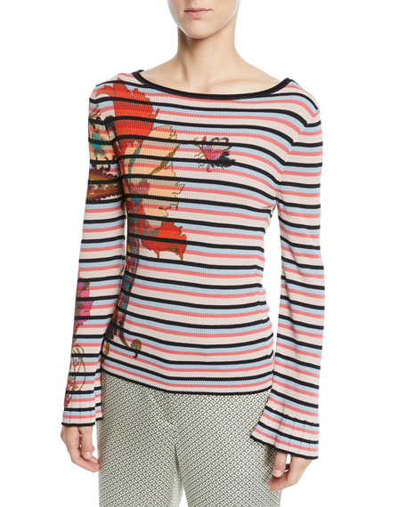 Etro Embroidered Floral-print Striped Sweater In Blue