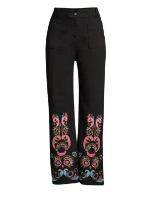 Etro Paisley Embroidered Ankle Jeans In Black