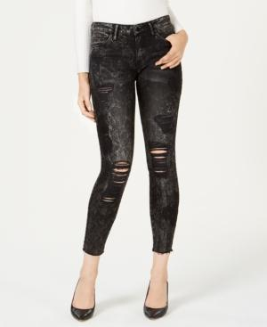 Guess Sexy Curve Ripped Embroidered Skinny Jeans In Carbon Black