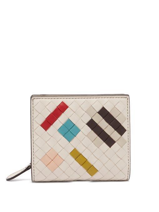 Bottega Veneta Intrecciato Bi-fold Leather Wallet In White Multi