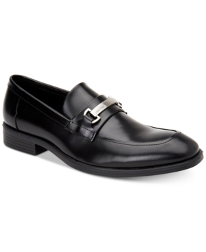 Calvin Klein Men's Craig Box Leather Loafers Men's Shoes In Black Box Leather