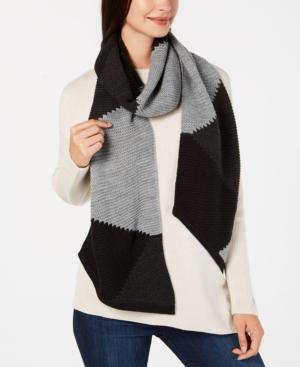 Vince Camuto Triangle Patchwork Muffler In Black