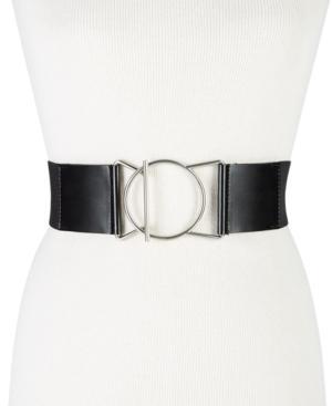 Calvin Klein Geo-buckle Leather Stretch Belt In Black/silver