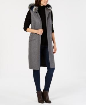 Steve Madden Faux-fur Hooded Midi Vest In Grey