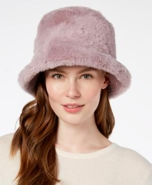 Steve Madden Solid Faux-fur Bucket Hat In Lilac