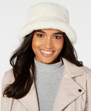 bde0027541211 Steve Madden Solid Faux-Fur Bucket Hat In Cream