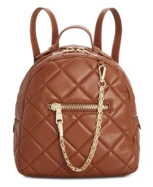 Steve Madden Selma Box Quilt Backpack In Cognac/silver