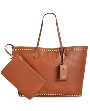 Steve Madden Vivi Studded Work Tote In Cognac/gold