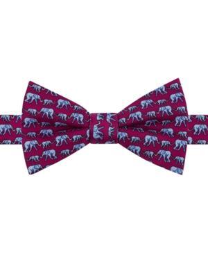 Tommy Hilfiger Men's Elephant Print Pre-tied Silk Bow Tie In Burgundy