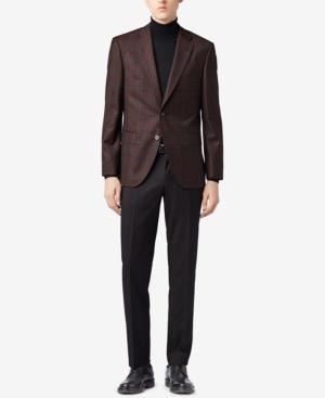 Hugo Boss Boss Men's Regular/classic-fit Checked Jacket In Dark Red