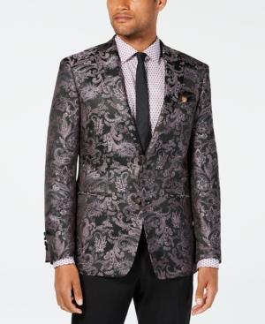 Tallia Orange Men's Slim-fit Black/pink Paisley Jacquard Sport Coat