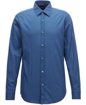 Hugo Boss Boss Men's Regular/Classic-Fit Cotton Shirt In Dark Navy/Red