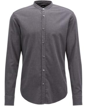 Hugo Boss Boss Men's Slim-fit Flannel Cotton Shirt In Medium Grey Melange