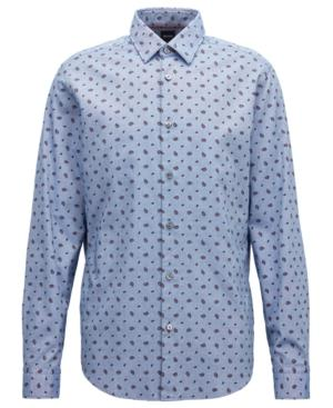 Hugo Boss Boss Men's Regular/classic-fit Cotton Paisley Shirt In Blue Chambray
