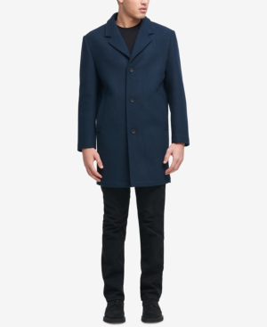 Dkny Men's Big And Tall Tailored Topcoat, Created For Macy's In Space Blue