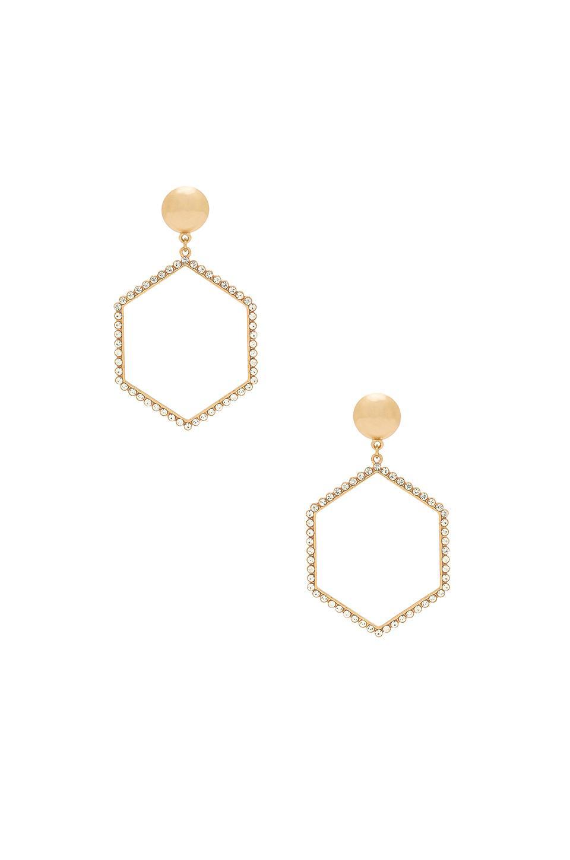 Ettika Hexagon Drop Earrings In Metallic Gold.