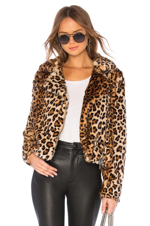 Rebecca Minkoff Hudson Faux Fur Jacket In Tan