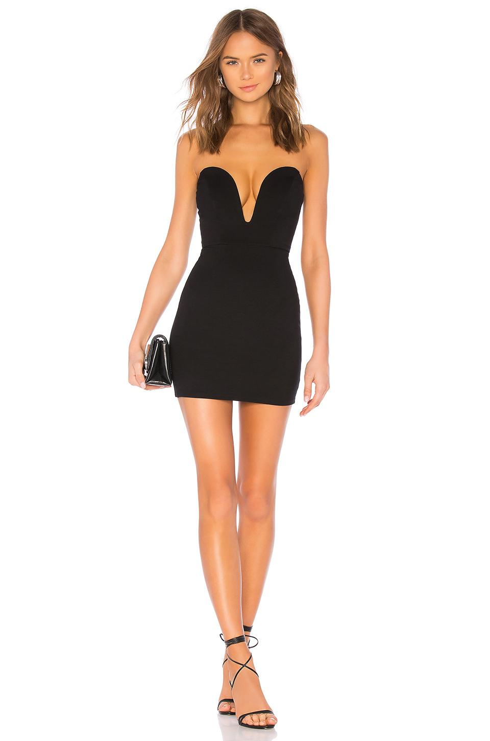 H:ours Cynlee Mini Dress In Black Noir