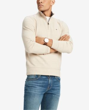 Tommy Hilfiger Men's French Rib Quarter-zip Pullover, Created For Macy's In Semolina Heather