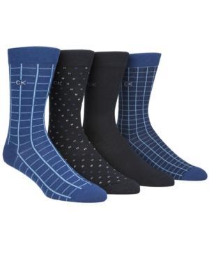 Calvin Klein Men's 4-pk. Printed Crew Socks In Navy Peony